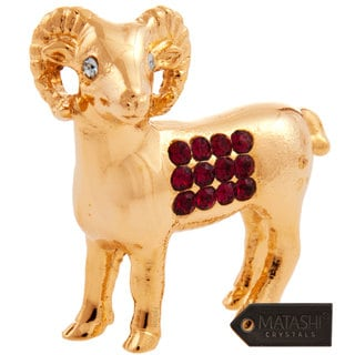 Matashi MCTCZ08 24K Goldplated Crystal-studded Year of the Goat Ornament