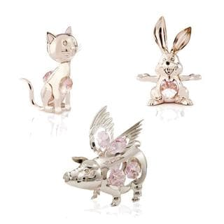 Matashi Silverplated Iron Crystal-studded Spirit Animal Ornament Set