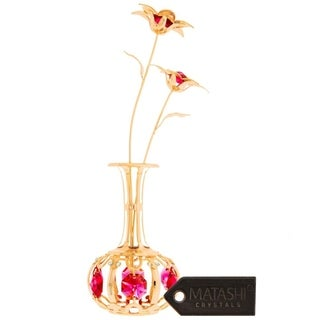 Matashi Goldplated Sun Flowers In Vase Ornament with Red Crystals