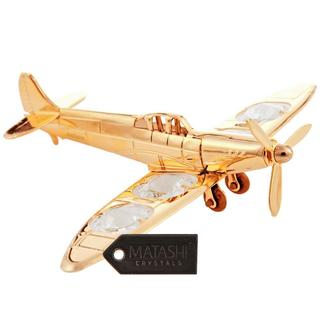 Matashi Gold-plated Propeller Airplane Ornament with Matashi Crystals