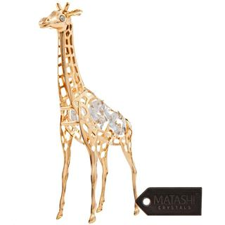 Matashi 24k Goldplated Iron and Matashi Crystals Giraffe Ornament