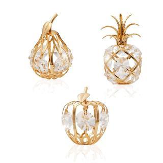 Matashi Gold-plated Crystal-studded Mini Fruit Ornaments Kit