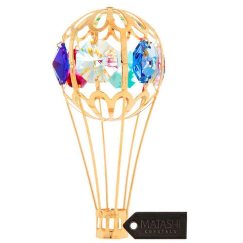 24K Gold Plated Crystal Studded Hot Air Balloon Ornament by Matashi