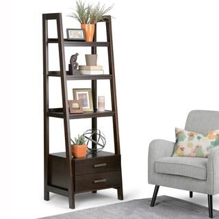WYNDENHALL Hawkins Solid Wood Ladder Shelf with Storage