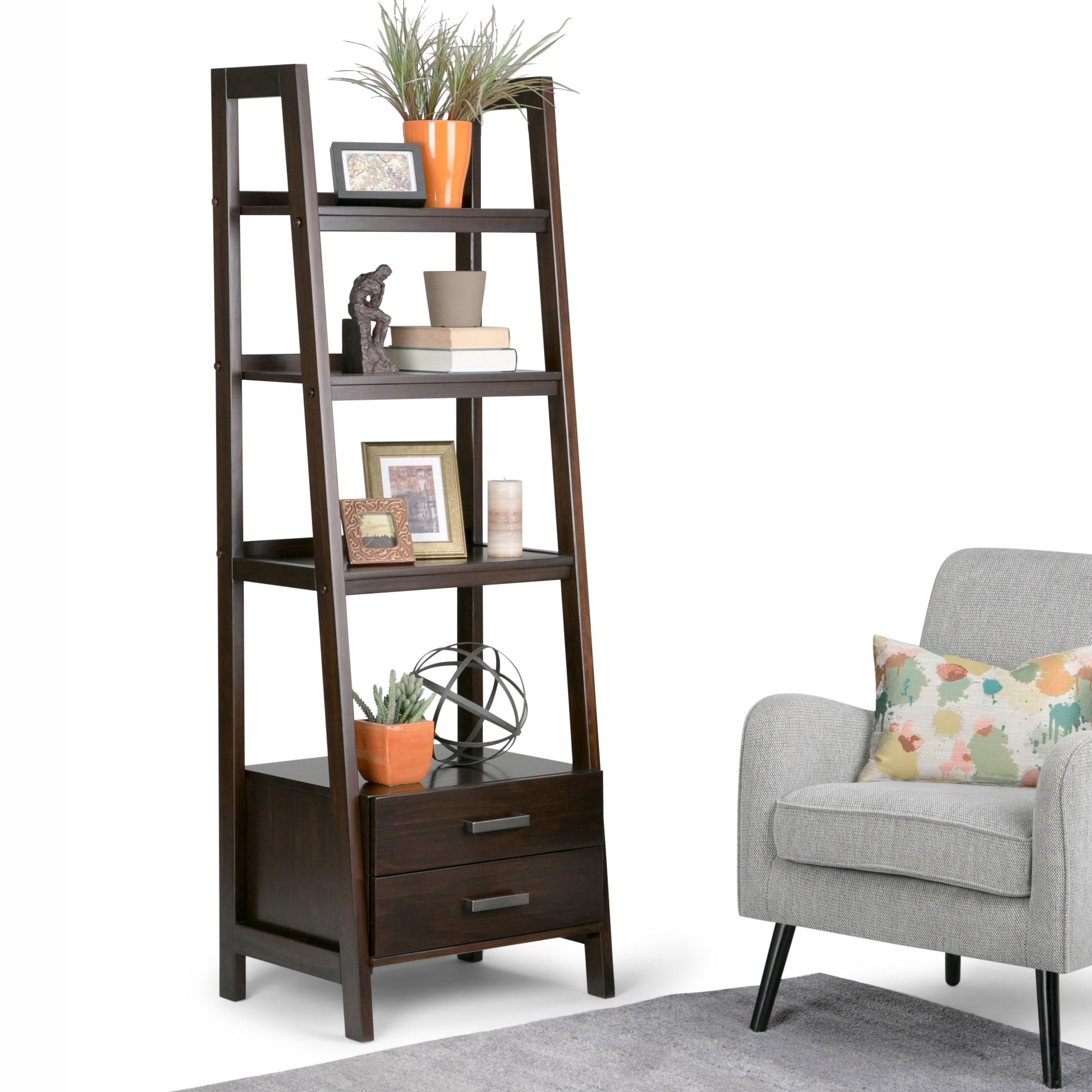 Wyndenhall Hawkins Solid Wood 72 Inch X 24 Inch Modern Industrial Ladder Shelf With Storage 24 W X 20 D X 72 H