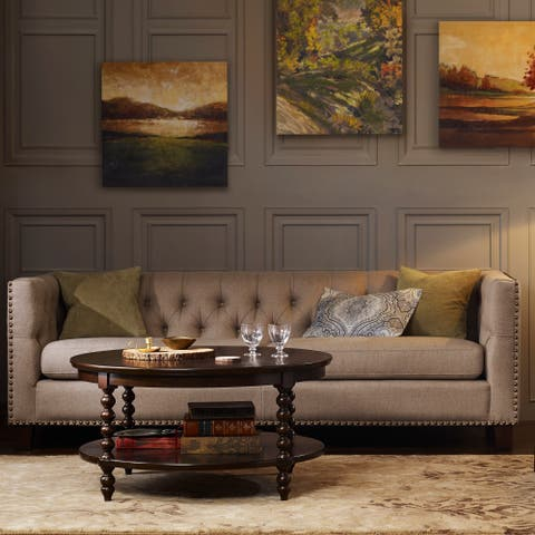 """Madison Park Signature Beckett Morocco Brown Round Coffee Table - dia.38x19"""""""
