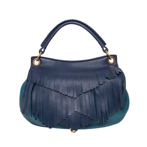 Miu Miu Fringe Leather Hobo Bag in Dented in Navy/Teal (As Is Item)