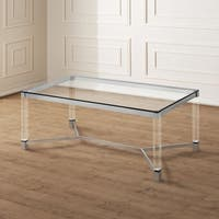 Furniture of America Rayna Contemporary Glam Tempered Glass Coffee Table