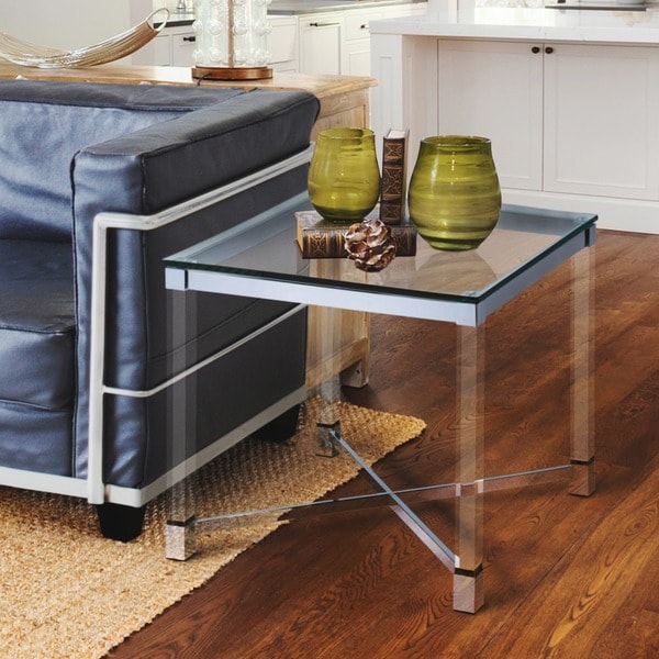 Furniture of America Rayna Contemporary Glam Tempered Glass End Table