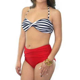 CaCelin Women's Sailor Twist Multicolor Spandex and Nylon Bandeau Bikini Set