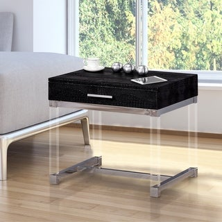 Repta Modern Crocodile Textured 1-drawer Storage End Table by FOA