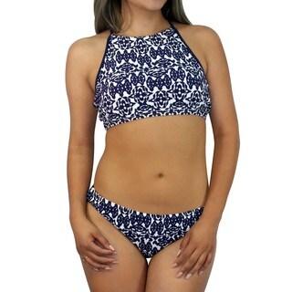 CaCelin Missy Blue Polyester and Spandex Geometric Bib Bikini Set