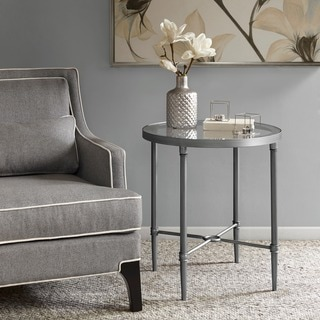 Madison Park Signature Bentley Antique Silver End Table