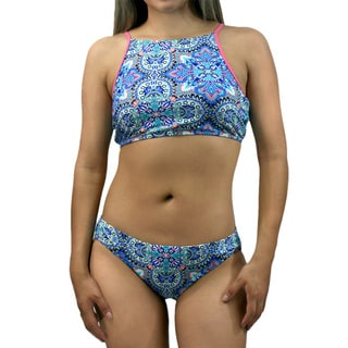 CaCelin Missy Pink Nylon and Spandex Paisley Bib Bikini Set