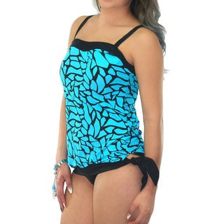 CaCelin Missy Crackle Blue Nylon and Spandex Bubble Tankini