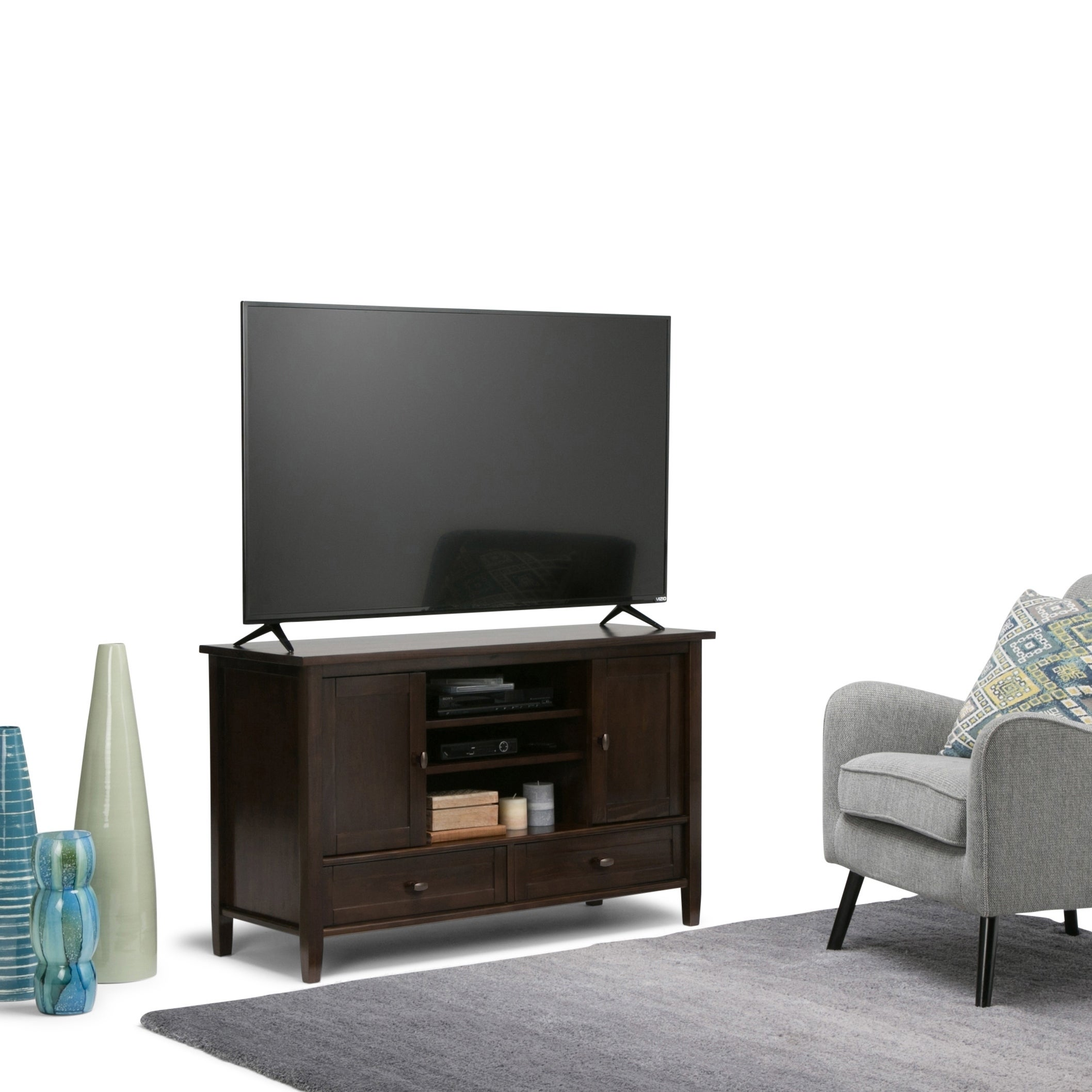 new products 99bf7 1be19 WYNDENHALL Norfolk Solid Wood 47 inch Wide Rustic TV Media Stand For TVs up  to 50 inches - 47