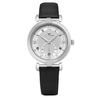 Alexander Women's Swiss Made Olympias Black Satin Leather Strap Watch