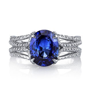 Lihara and Co Platinum Blue Sapphire and 0.46 ct TDW Diamond Ring (G-H, VS1-VS2)
