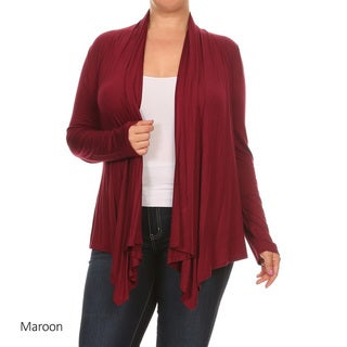 Women's Solid Rayon/Spandex Plus-size Cardigan
