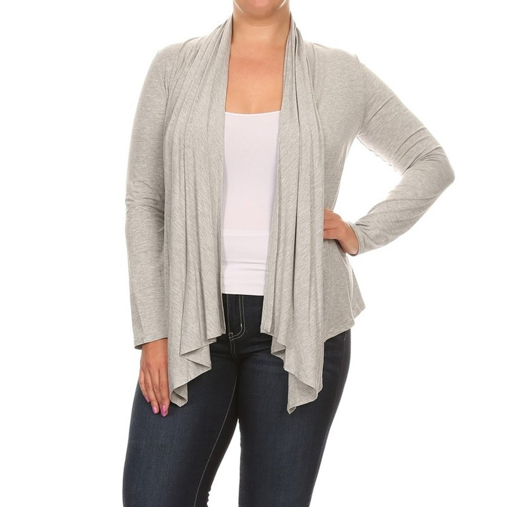 Womens Solid Rayon/Spandex Plus-size Cardigan
