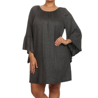 Women's Solid Rayon and Spandex Plus-size Loose-fit Dress
