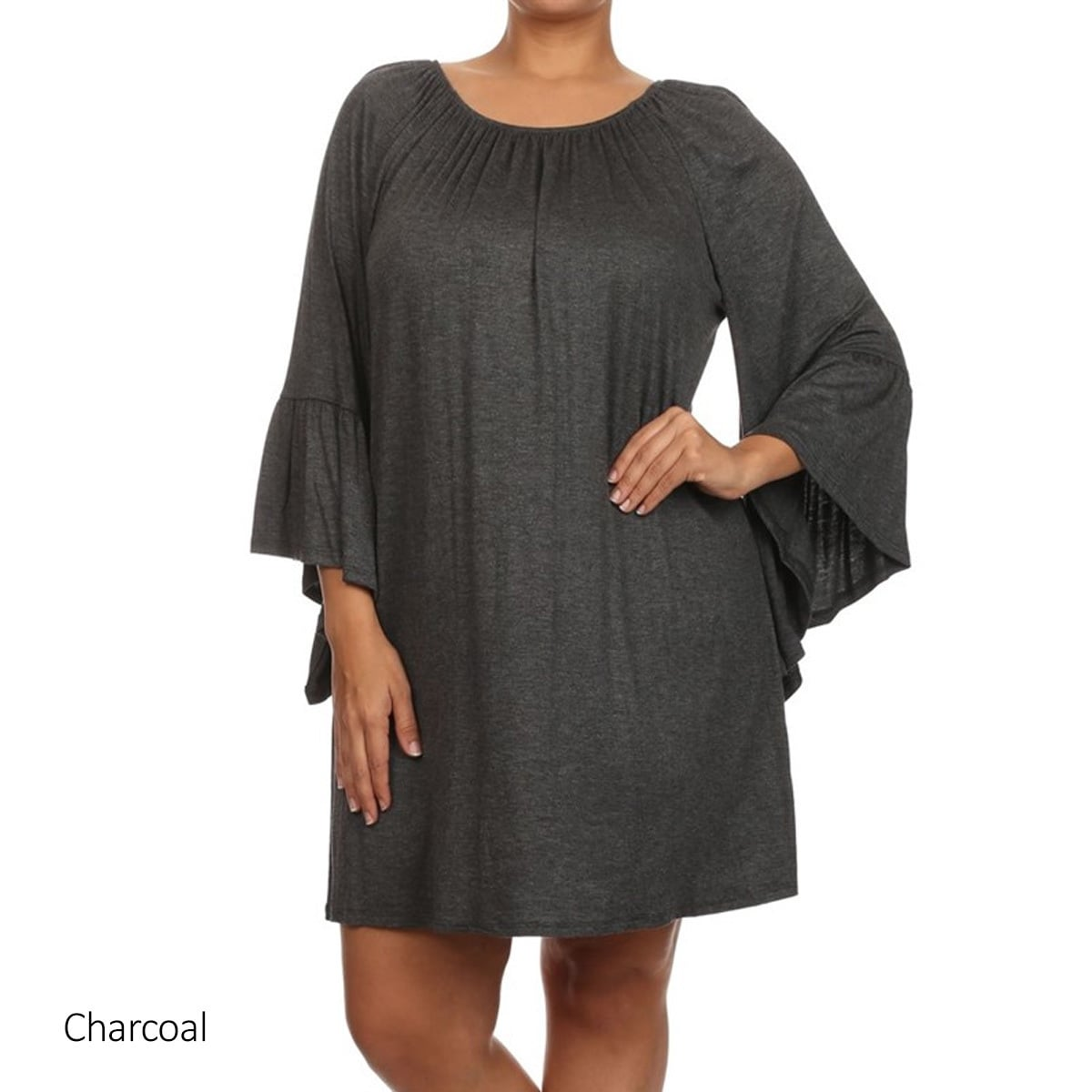Women\'s Solid Rayon and Spandex Plus-size Loose-fit Dress | eBay