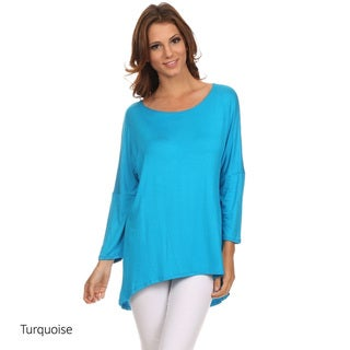 Women's Solid Rayon and Spandex Dolman Top