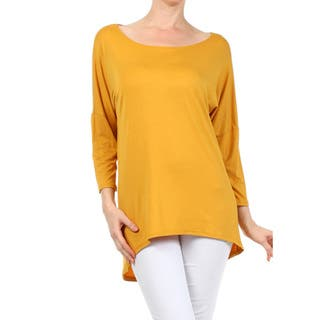 Women's Solid Rayon and Spandex Long-sleeve Tunic|https://ak1.ostkcdn.com/images/products/13815585/P20463167.jpg?impolicy=medium