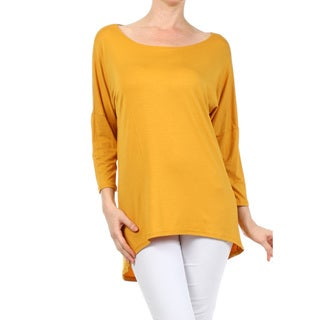 Women's Solid Rayon and Spandex Long-sleeve Tunic