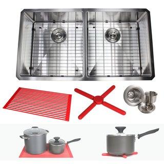 "Ariel 37"" Stainless Steel 15mm Radius Double 50/50 Bowl 16 Gauge Undermount Kitchen Sink Complete Combo Accessories"