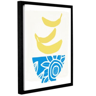 Linda Woods's 'Bowl of Bananas ' Gallery Wrapped Floater-framed Canvas