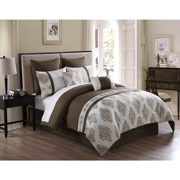Avondale 8-piece Oversized and Overfilled Jacquard and Embroidered Comforter Set