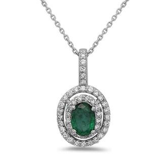 14k White Gold Emerald and 2/5ct TDW Diamond Pendant (H-I, SI1-SI2)