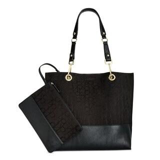 Calvin Klein Signature Black Faux Leather Reversible Tote