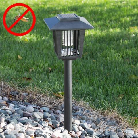 Pure Garden Black Solar Power UV Mosquito and Bug Zapper LED Light - 6 x 6 x 23.5