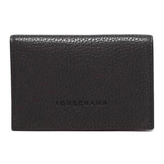 Longchamp Lingchamo Le Foulonne Black Leather Bifold Cardholder