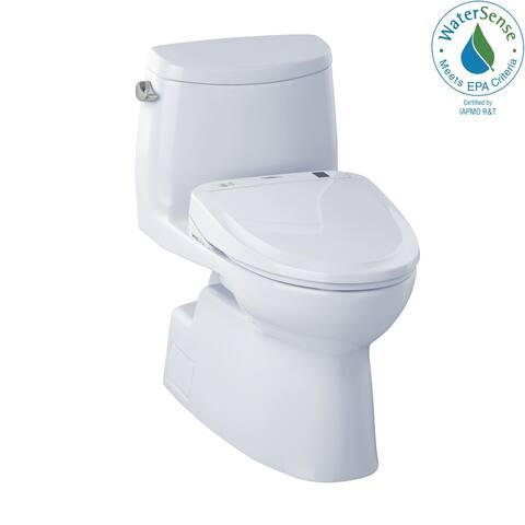 Toto WASHLET+ Kit Carlyle II One-Piece Elongated 1.28 GPF Toilet and WASHLET S350e Bidet Seat, Cotton White (MW614584CEFG#01)
