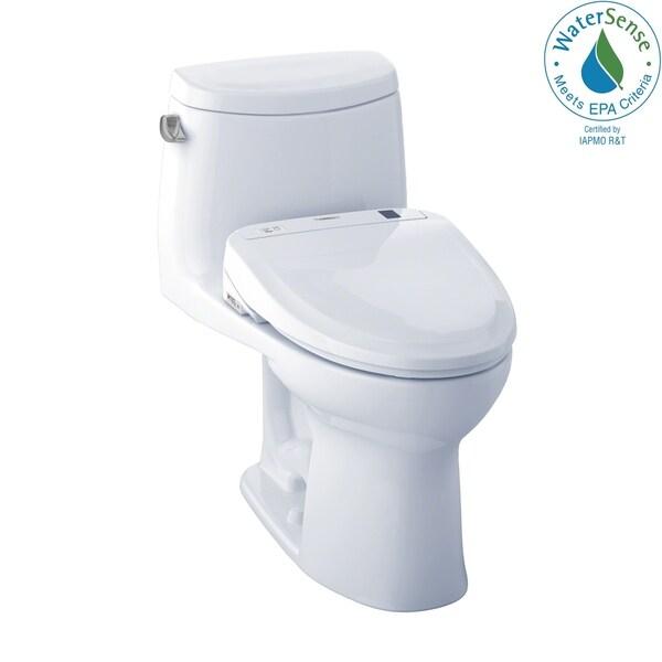 Toto WASHLET+ Kit UltraMax II 1-Piece Elongated 1.28 GPF Toilet and WASHLET S350e Bidet Seat, Cotton White (MW604584CEFG#01)