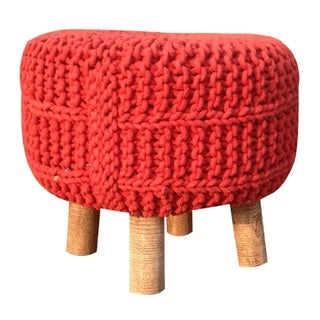 Handmade Small Red Macrame Stool (India)