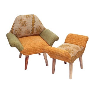Handmade Orange/ Green Kantha Chair and Ottoman Set (India)