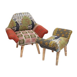 Green/ White/ Red Kantha Chair and Ottoman Set (India)