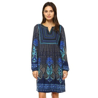 Women's 'Phebe' Blue/Brown Polyester/Spandex Embroidered Sweater Dress