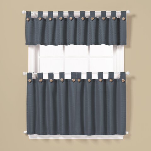 Saturday Knight Pacifica Window Curtain Tier Pair and Valance Set 36-Inch