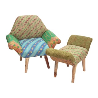 Green/ Blue/ Orange Kantha Chair and Ottoman Set (India)