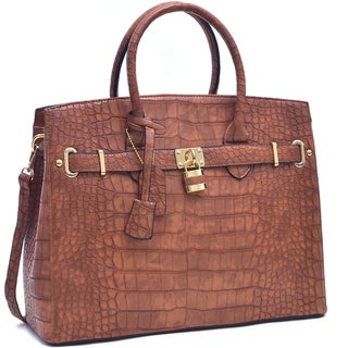 Dasein Croco Embossed Satchel with Padlock