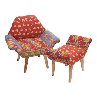 Handmade Red/ Orange/ Purple Kantha Chair and Ottoman Set (India)