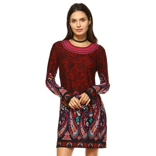 White Mark Women's Sandrine Polyester/Spandex Embroidered Sweater Dress
