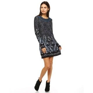 White Mark Women's Sandrine Polyester/Spandex Embroidered Sweater Dress