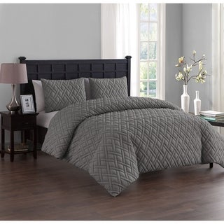 VCNY Lattice Embossed 3-Piece Duvet Cover Set