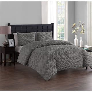 Vcny Lattice Embossed 3 Piece Duvet Cover Set